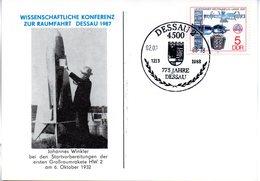 """(DDR-B3) DDR Sonderkarte """"Wissenschaftliche Konferenz Zur Raumfahrt DESSAU 1987"""", EF Mi 2359, SSt. 2.8.1988 DESSAU 2 - Briefe U. Dokumente"""