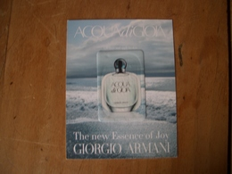 Carte Armani Acqua Di Gioia For Life A/patch* - Perfume Cards