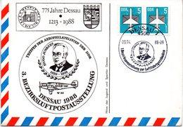 """(DDR-B3) DDR Sonderkarte """"Treffen Der Aerophilatelisten Der DDR DESSAU 1988"""", MeF 2x Mi 2831, SSt. 9.4.1988 DESSAU 1 - Briefe U. Dokumente"""