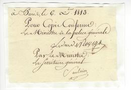 Anne Jean Marie René SAVARY DUC DE ROVIGO (1774 - 1833) AUTOGRAPHE ORIGINAL AUTOGRAPH EMPIRE Ministre Police + GENERAL - Autogramme & Autographen