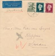 Nederlands Indië - 1948 - 50 + 25 + 4 Cent Mengfrankering Op LP-Drukwerk Van Medan Naar Klippan / Schweden - Indes Néerlandaises