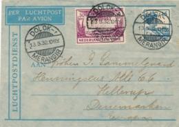 Nederlands Indië - 1932 - 15 + 30 Cent Op LP-Briefje Van LB DOLOKMERANGIR Naar Hillerup / Danmark - Indes Néerlandaises