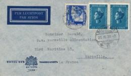 Nederlands Indië - 1938 - 2x15 Jubileum + 15 Cent Op LP-cover Van Soerabaja Naar Marseille / France - Nederlands-Indië