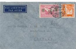 Nederlands Indië - 1934 - 30 Cent Luchtpost + 12,5 Cent Op LP-cover Van Batavia/2 Naar Alkmaar / Nederland - Indes Néerlandaises