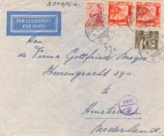 Nederlands Indië - 1949 - 4 Stamps Mixed Franking On Censored Airmail Cover From Batavia To Amsterdam / Nederland - Nederlands-Indië