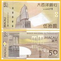 Macau Macao 50 Patacas  P-81Ba 2009 BNU Banco Nacional Ultramarino UNC - Macao