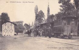 CPA - 72 - EVAILLE (Sarthe) - GARE DES TRAMWAYS  AVEC Le TRAMWAY Et Ses Wagons, Belle Animation Et état Voy 1915 - Tramways