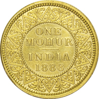 BRITISH INDIA GOLD COIN, ONE MOHUR, 1888, QUEEN VICTORIA, EF, RARE - Inde
