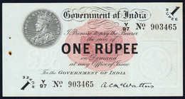BRITISH INDIA BANKNOTE, ONE RUPEE, 1917, KING GEORGE V, UNC, RARE - India