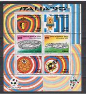REPUBBLICA  1990  COPPA  DEL  MONDO  DI  CALCIO  -  FGL. £. 800 X 6  N. -  SASS. 8 - Blocchi & Foglietti
