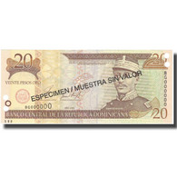 Billet, Dominican Republic, 20 Pesos Oro, 2001, 2001, Specimen, KM:169s1, NEUF - Dominicaine