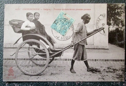 Indochine  Femme Annamite En Pousse  Cpa - Viêt-Nam