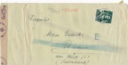 Nederland - 1943? - 10 Cent Zeeheld - Johan Evertsen Op Cover Met Gewone En Chemische Censuur Naar Bremen - Periode 1891-1948 (Wilhelmina)
