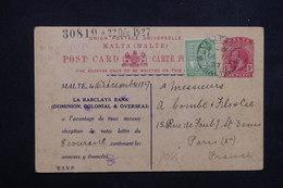 MALTE - Entier Postal Commerciale + Complément De Valletta Pour La France En 1927 , Repiquage Bancaire - L 23573 - Malta (...-1964)