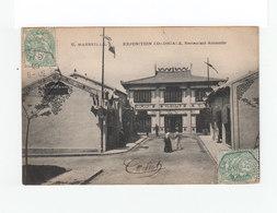 Sur Carte Postale Deux Types Blanc CAD Exposition Coloniale Marseille 1906. Vignette Exposition Coloniale. (1137x) - Marcophilie (Lettres)