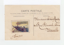 Sur Carte Postale  Type Blanc CAD Exposition Coloniale Marseille 1906. Vignette Exposition Coloniale. (1138x) - Marcophilie (Lettres)