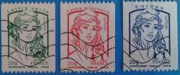 France 2013 :  Type Marrianne De Ciappa Et Kawena Provenant De Roulette N° 4778 à 4780 Oblitéré - France
