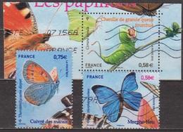Nature, Papillons - FRANCE - Morpho Bleu, Chenille De Grande Queue Fourchue, Cuivré Des Marais - N° 4498-4499-4500  2010 - France