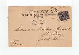 Sur Carte Postale Constantinople Type Sage 10 C. Noir Et Lilas. CAD Constantinople 1900. C. Destination St Péray. (1140x - 1858-1921 Ottoman Empire
