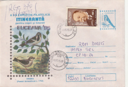 76796- HOUSE SPARROW, BIRDS, REGISTERED COVER STATIONERY, MATHEMATICIAN STAMP, 1995, ROMANIA - Moineaux