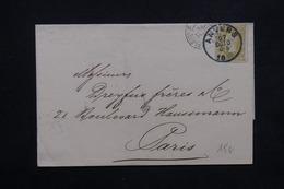 BELGIQUE - Enveloppe De Anvers Pour Paris En 1880, Voir Cachets Recto Et Verso - L 23598 - 1869-1883 Leopold II