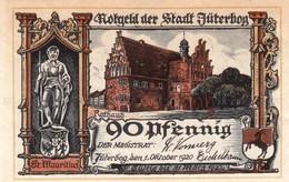 Billet Allemand - 90 Pfennig - Jüterbog 1920 - Hôtel De Ville - [11] Emissions Locales
