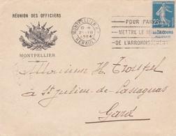 N° 140 Pub Le Secours / Accident S / Env T.P.Ob Mécanique Montpellier 21 VII 1924 - Marcophilie (Lettres)