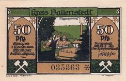 Billet Allemand - 50 Pfennig - Ballenstedt 1921 - Vue De Mägdesprung, Zwerge Auf Dem Feld - [11] Emissions Locales