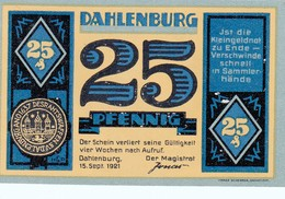 Billet Allemand - 25 Pfennig - Dahlenburg 1921 - Stadtwappen, église Et Monument - [11] Emissions Locales