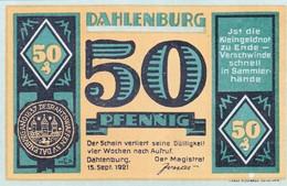 Billet Allemand - 50 Pfennig - Dahlenburg 1921, Stadtsiegel, Bauer Avec Rinderpflug - [11] Emissions Locales