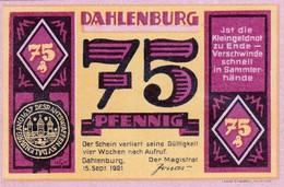 Billet Allemand - 75 Pfennig - Dahlenburg 1921, Stadtsiegel, Bauer Avec Rinderpflug - [11] Emissions Locales