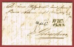K.K. Filialamt Alservorstadt 2.Exp. 13 Jun (1845)   & Wien  Nach München .O.B.C.Postvertrag 1842 Österreich Bayern - ...-1850 Vorphilatelie