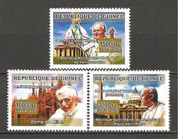 GUINEA - 2007 Papa GIOVANNI PAOLO II E BENEDETTO XVI (S.Pietro Roma, Duomo Milano, Notre Dame Yamoussoukro) Nuovi** MNH - Papi