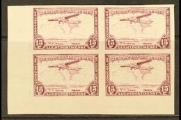 BELGIAN CONGO 1934 Air 15f Lilac, COB PA 13ND, IMPERF Lower Left Corner Block Of Four, Fine Nhm. For More Images, Please - Belgium