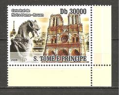 S.TOME'& PRINCIPE - 2008 Cattedrale Di Notre Dame A Rouen 1v.  Nuovo** MNH - Kirchen U. Kathedralen