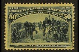 1893 50c Slate Blue Columbus, Scott 240, Mint, Tiny Thin. For More Images, Please Visit Http://www.sandafayre.com/itemde - United States