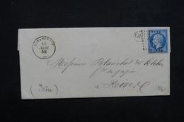 FRANCE - Lettre De Nonancourt Pour L 'Isère En 1858 , Cachet Facteur OR , PC 2291 Type 14 Type I Sur Azuré - L 23619 - Marcofilia (sobres)