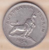 Australie 1 Florin 1954 Visite Royale, Elizabeth II KM# 55 , En Argent - Monnaie Pré-décimale (1910-1965)