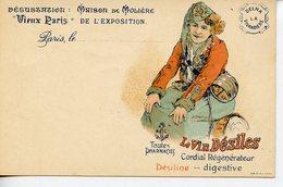 """688. CPA """"VIEUX PARIS"""" DE L'EXPOSITION (PROBABLEMENT 1900) DELNA LA VIVANDIERE. LE VIN DESILES CORDIAL - Reclame"""