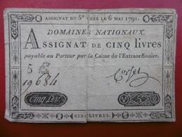 BILLET ASSIGNAT DE 5 LIVRES 6 MAI 1791 SERIE 5 E - Assignats & Mandats Territoriaux
