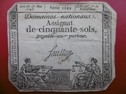 BILLET ASSIGNAT DE 50 SOLS 23 MAI 1793 SERIE 1129 - Assignats & Mandats Territoriaux