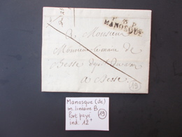 BASSES ALPES.MARQUE LINEAIRE MANOSQUE.PORT PAYE.1824 - 1801-1848: Precursori XIX