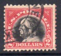 USA 1917-20 Flat Plate Printing $2 Black & Carmine Definitive, U, SG 527 - Used Stamps
