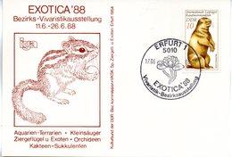 "(DDR-B3) DDR Sonderkarte ""Bezirks-Vivaristikausstellung EXOTICA'88"", EF Mi 2677, SSt.17.6.1988 ERFURT 1 - [6] République Démocratique"