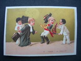 CHROMO Doré Sans Pub : Les Petits Pierrots N° 5 TENEZ ! LA PREUVE / Victorian Trade Card - Autres