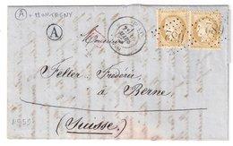 """BUXY : Lettre De 1874 : Boite Rurale A  """" Montagny """"  ( Identifiée ) : Saône Et Loire - 1849-1876: Période Classique"""