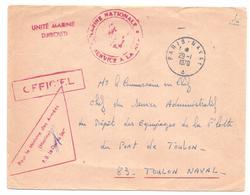 ENVELOPPE POSTE NAVALE  MARINE NATIONALE   UNITE MARINE DJIBOUTI   OFFICIEL   PARIS NAVAL   29 1 1970 - Marcophilie (Lettres)