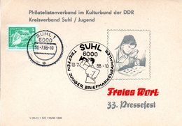 """(DDR-B3) DDR Sonderkarte """"33. Pressefest FREIES WORT"""", EF Mi 2483, SSt.10.7.1988 SUHL 1 - [6] République Démocratique"""