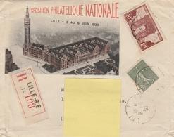 234 SEMEUSE + 258 ARC De TRIOMPHE S/ LR De 5/1933 - En-tête EXPO.PHILAT. LILLE 6/33 - Cartas