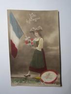 CARTE PATRIOTIQUE VIVE LA FRANCE FANTAISIE MILITAIRE GUERRE 14-18 Obliteration TRESOR ET POSTES 112 - Weltkrieg 1914-18